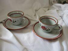 Stangl Pottery 2 cups & saucers lot Garland gray burgundy green Trenton, NJ