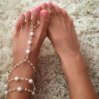 Pearl Barefoot Sandal Anklet Foot Chain Toe Ring Beach Anklet Bracelet Women FO