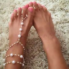 Pearl Barefoot Sandal Anklet Foot Chain Toe Ring Beach Anklet Bracelet Women Cs