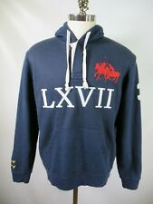 F6584 Men's Polo Ralph Lauren Two Big Ponies Hooded Pull-Over Sweater Size L