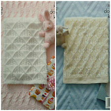 KNITTING PATTERN Baby Textured Cot & Pram Blankets DK King Cole 3506