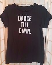 Kate Spade DANCE TILL  DAWN Women's T-Shirt XS Black Glitter HTF NO RESERVE