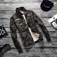 Stylish Men's Button Camouflage Casual Denim Shirt Long Sleeve Camo Dress Shirts