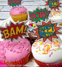 12 Happy Birthday - Comic Edible Pop Top Cupcake Toppers  | Cake Decoration
