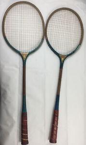 Antique Wood Badminton Rackets 2 HUSKY Brand Made In Pakistan
