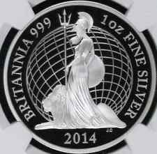 2014 Great Britain 2 Pound 1 Oz Proof Silver Britannia NGC PF70 ER