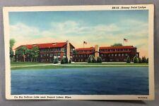 c 1940 BREEZY POINT LODGE Minnesota BIG PELICAN LAKE Postcard Linen PEQUOT LAKES