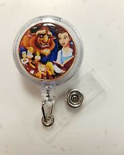 Disney 2017 BEAUTY AND THE BEAST & FRIENDS Retractable Badge Holder, Glitter