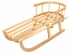 Holzschlitten Kinderschlitten aus Buchenholz Rückenlehne inkl. Zugseil Schlitten