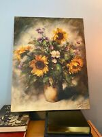 """P. Sorel Signed Flower Painting On Canvas Large 22x27.5"""" Sunflowers"""