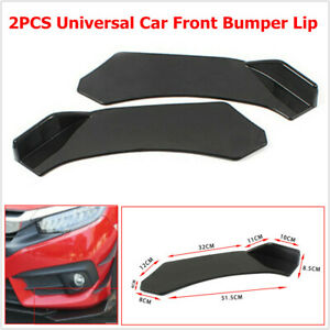 2PCS Car SUV Front Bumper Lip Chin Body Kit Spoiler Wings Black Fit for BMW Ford