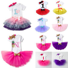 Newborn Girl 1st Birthday Tutu Tulle Dress Headband Party Princess Outfit Set