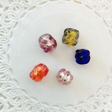 Venetian Glass Gold & Silver Foil Beads - 5 PC. - Twists Mixed Colors - 8x10mm