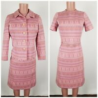 Carillon Saks Fifth Avenue Easter Pink Knit Dress Size 10 Vtg 1960's ILGWU Made