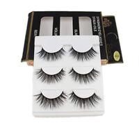 New 3Pairs Handmade Eye Lashes Real Mink 3D Natural Cross False Eyelashes