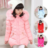 Kids Girls Winter Cotton Hooded Coat Thicken Outerwear Wadded Jacket 5-12Years