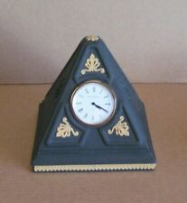 Wedgwood Jasperware Pyramid Clock Black & Cane Yellow Library Collection