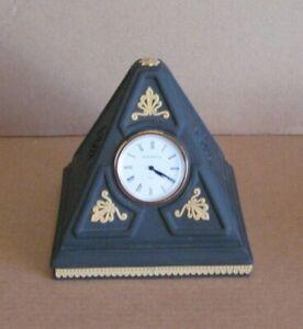 Wedgwood Jasperware Pyramid Clock Black & Cane Yellow Library Collection