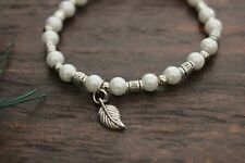 Beautiful Handmade Pearl Glass & Silver Beaded Stretch Leaf Charm Bracelet