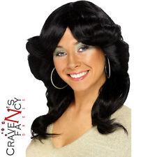 Ladies Black 70s 80s Flick Wig Charlies Angels Disco Fancy Dress Accessory New