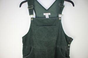 Vtg GREEN corduroy dungaree style pinafore bib & brace dress size L Alexa style