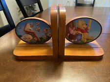 Vintage Wood Bookends-Winnie The Pooh & Piglet With Hunny Pot, Bees , Books