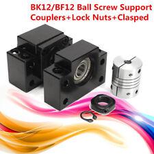 SFU1605 BK12 BF12 Ball Screw Supports 45 Steel w/ Coupler + Lock Nuts Clasped