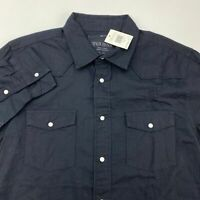 NWT Guess Snap Button Up Shirt Men's XL Long Sleeve Black 100% Cotton Casual
