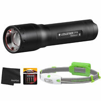 LEDLENSER P7R Rechargeable LED Flashlight-1000 Lumens + Neo H4 Headlamp + Cloth