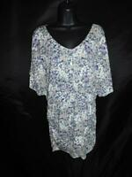 Cabi L Purple Blue Pink Floral Flutter Ruched Waist Top Shirt Short Sleeve 301 L