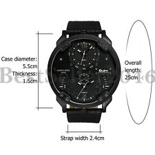 Casual Mens Big Face Round Dial Dual Time Zone Analog Display Quartz Wrist Watch