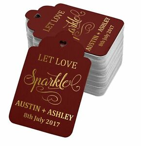 Real Foil Personalized Let Love Sparkle Wedding Hang Tags-SH11_2BG