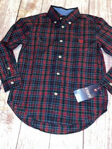 Chaps Size 6 Navy Red Green Holiday Plaid Button Down Dress Shirt New