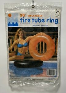 "Vtg 1983 36"" Intex Orange Inflatable Tire Tube Pool Beach Raft Float, Sealed NOS"