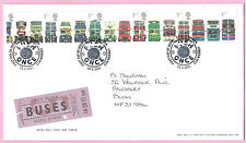 GB ROYAL MAIL 2001 FDC - CLASSIC BRITISH BUSES - Shs PUSH ONCE - LONDON WC2