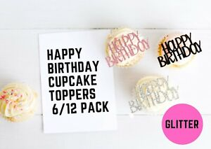 Happy Birthday Cupcake Toppers Party Food Cake Decorations 3/6/12 Pack