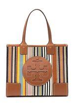 TORY BURCH 54254 Ella Webbing Patchwork Tote Handbag Textile Leather NWT