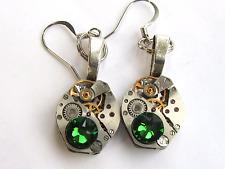 Steampunk drop/dangle earrings watch movements Emerald Swarovski Gift for Her