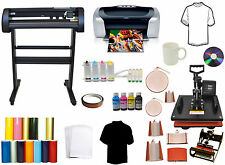 "8in1 Combo Heat Press,24"" 500g LaserPoint Vinyl Cutter Plotter,Printer CISS Pack"