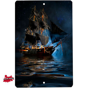 Pirate Ship in the Night metal sign - Wall Decor - Aluminum Door / Wall Picture