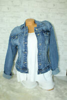 Italy Jeans Jacke Gr. 36 38 40  Jeansjacke Oversized Destroyed denim blau