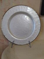 Pier 1 Evelyn Ivory 4 Dinner plates With Silver rim Holiday Christmas New Years