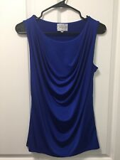 Grayson Royal Blue Draped Front Faux Cowl Neck Blouse Top Shirt Small S