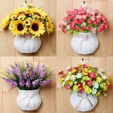 Artificial Silk Flowers Plastic Vase Hanging Basket Fake Flower Home Room Decor