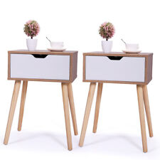 Set of 2 Sofa Side End Table  Storage Drawer Wood Legs Living Room Furniture