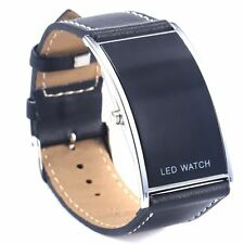Men Women LED Date Digital Black Leather Strap Stainless Steel Wrist Watch Black