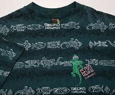 Vintage 1990s Gecko Hawaii All-Over Print Surf 50/50 Usa Made Boys Large Shirt