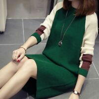 Womens Temperament Knitted Long Sleeve Sweater Blouse Dress Party Casual Dress