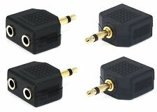 4x Mono 3.5mm 1 Male Plug to 2 Jack Audio Y Splitter Headphone Cable Adapter