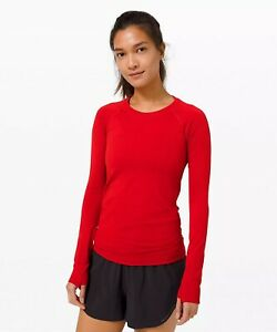 NWT authentic lululemon Swiftly Tech Long Sleeve Shirt 2.0 in Dark Red size 10